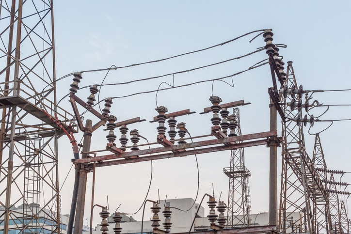 This Is A Photo Of An Electricity Power Substation.